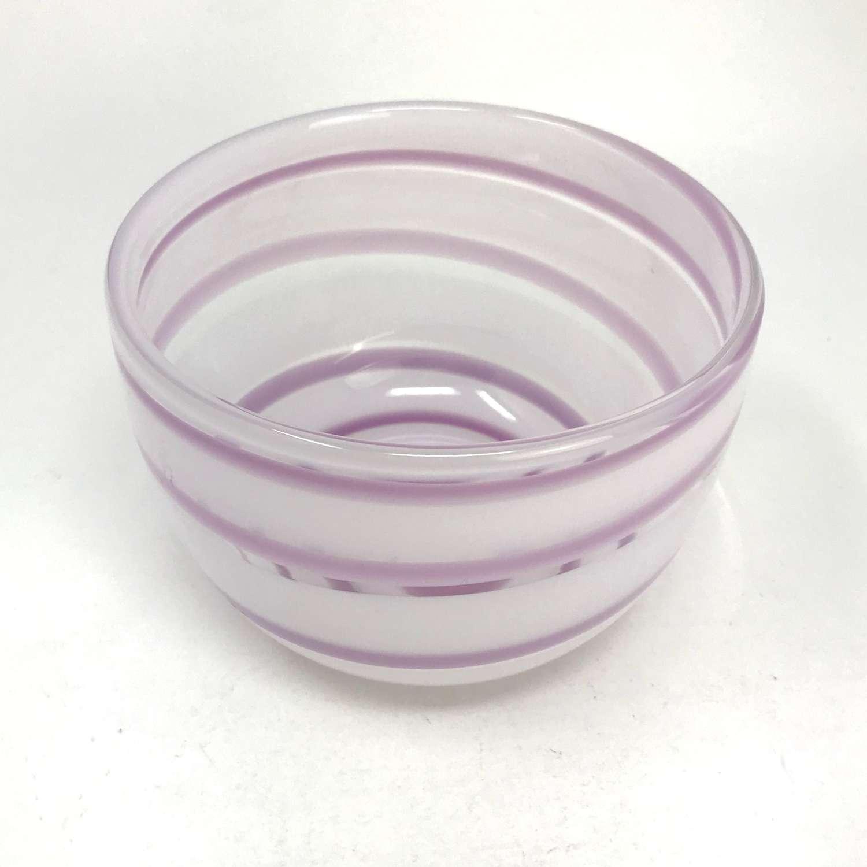 Ingeborg Lundin Small purple swirl bowl Orrefors Sweden 1960s