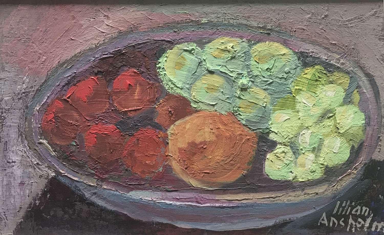 Lilian Anshelm Bowl of Fruit, oil on panel Sweden c1950s