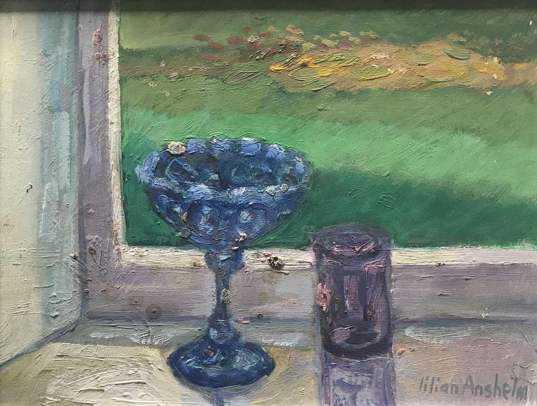 Lilian Anshelm Blue Glass by Window, oil on panel, Sweden c1950s