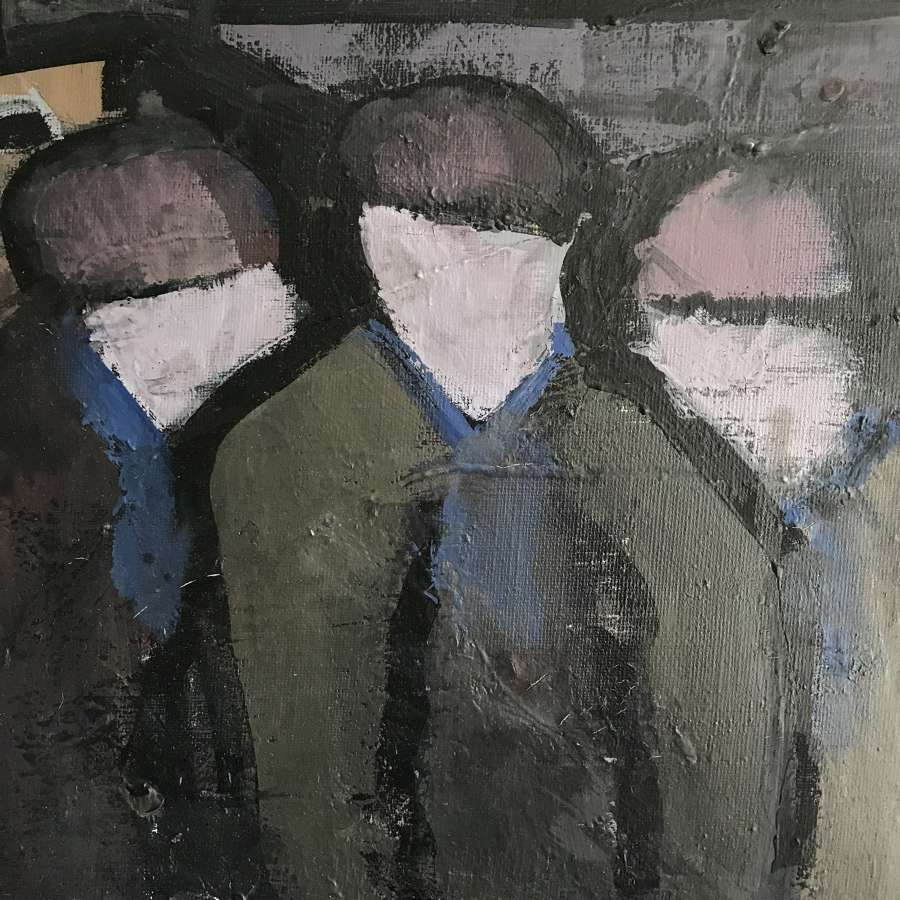 Kai Christensen Harbour Workers, Oil on Canvas Sweden