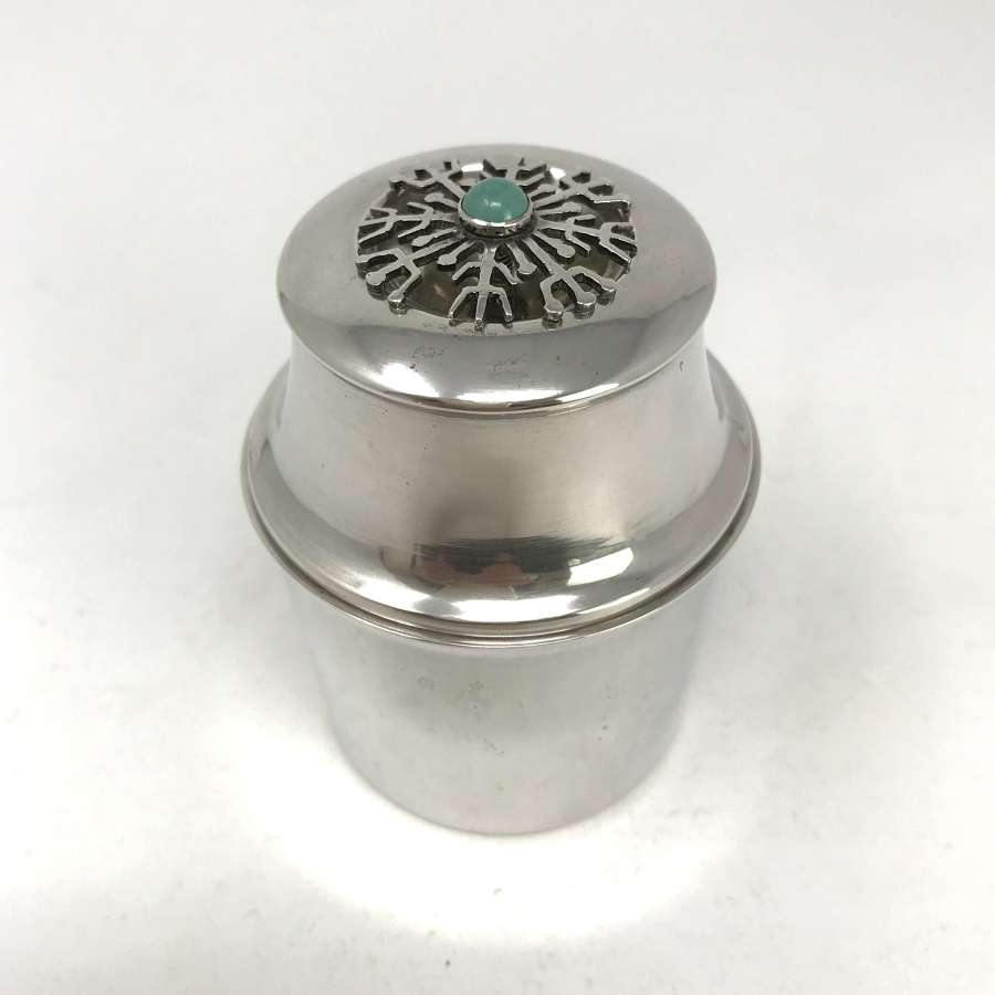 MGAB Silver lidded pot with turquoise cabochon Sweden 1953