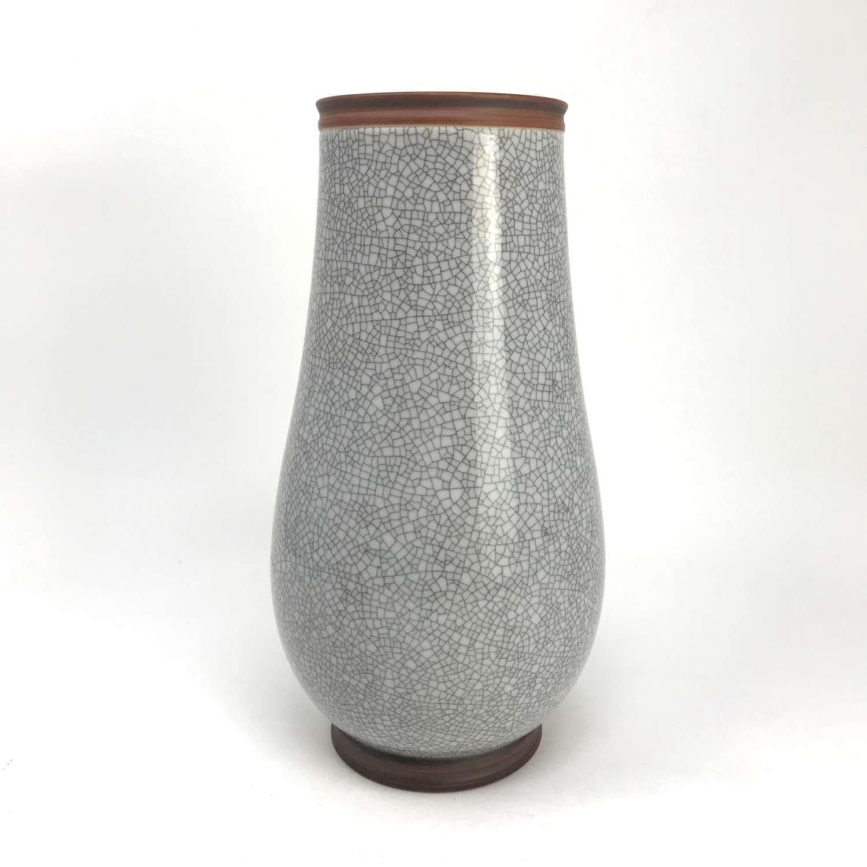 Gunnar Nylund grey craquelle vase Lidköping Sweden 1930s