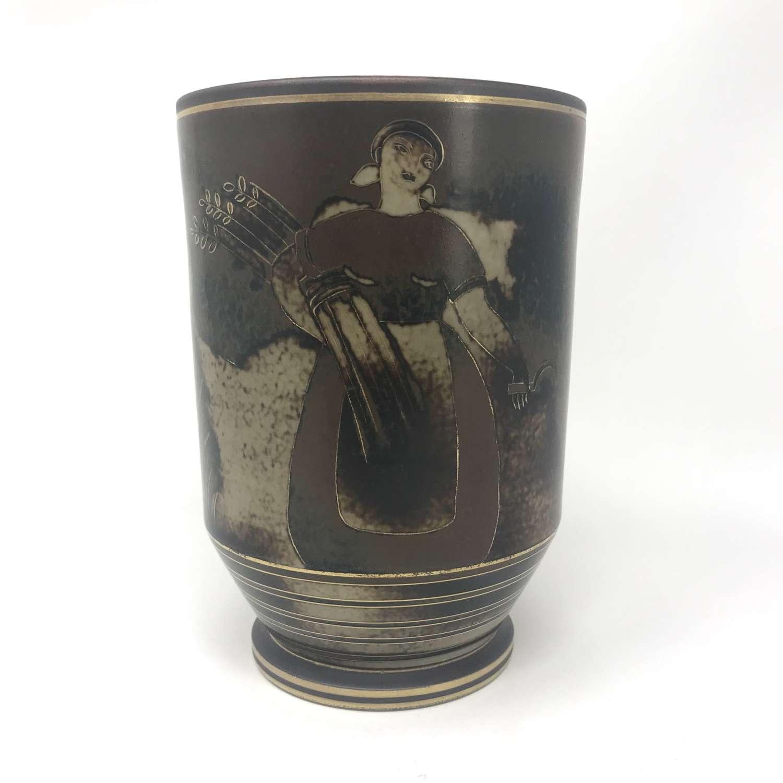 Gunnar Nylund Flambé Vase with Pastoral Scene Rörstrand 1930s