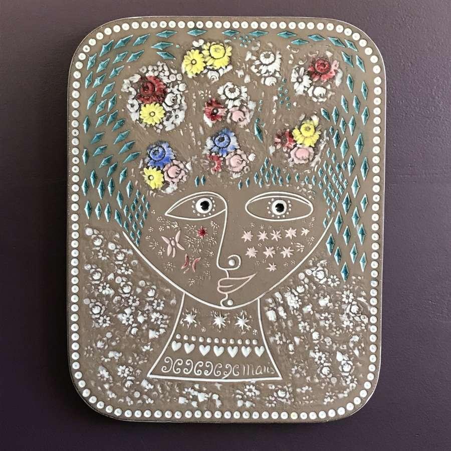 Mari Simmulson Beata Ceramic Wall Plaque Upsala Ekeby Sweden 1960s