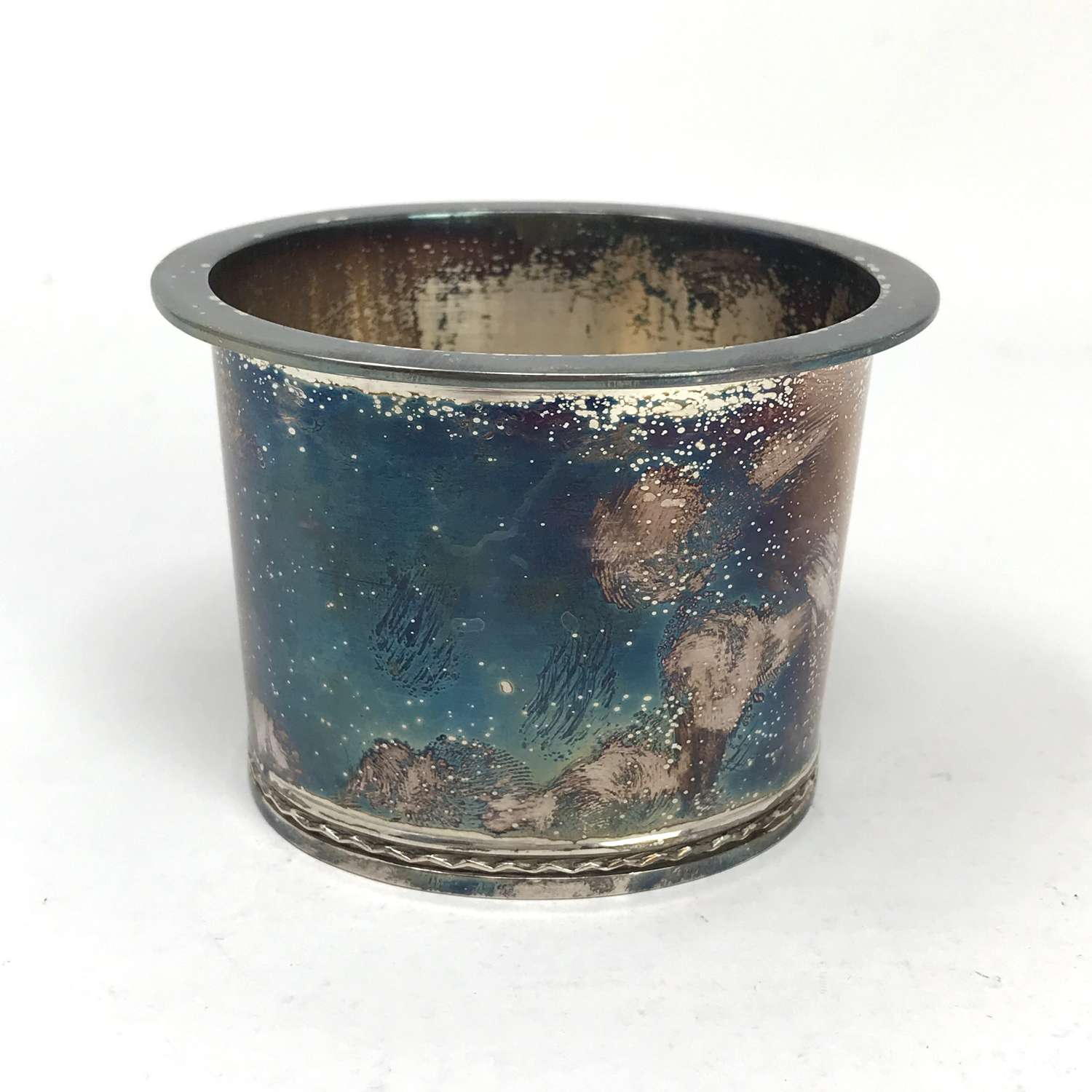 Eric Råström Silver Cup with Blue Patina, Swedish Hallmarks 1970