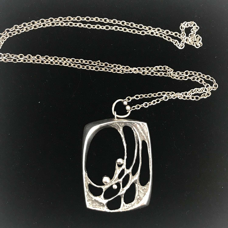 Sten & Laine silver pendant and chain Finland, 1970s