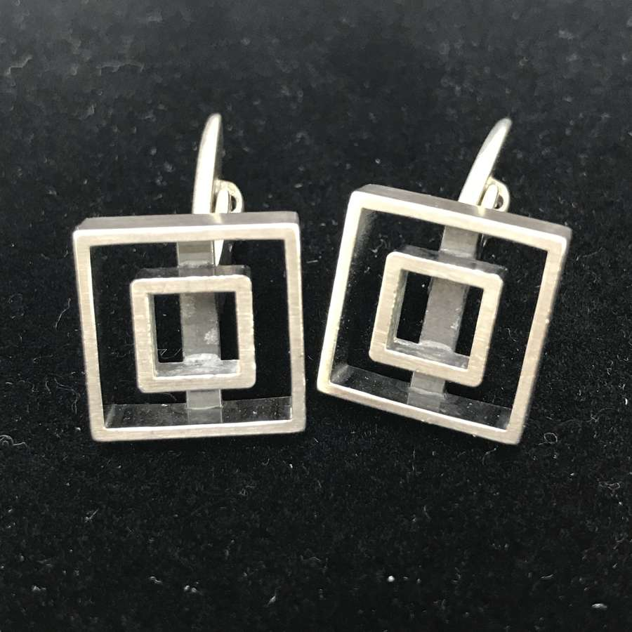 Niels Erik From hollow square cufflinks, Denmark c1970s