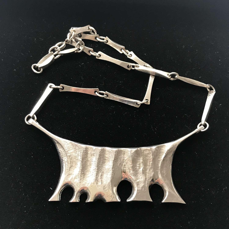 Silver brutalist necklace by Per Arne Terrs, Sweden 1970