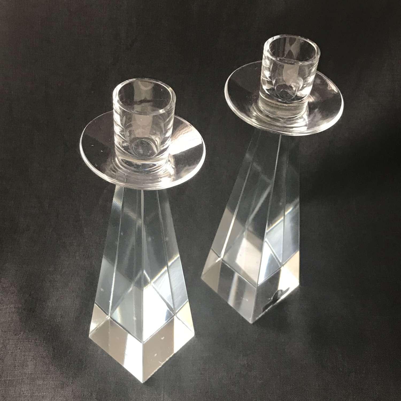 Two Strombergshyttan glass candlesticks P52 Sweden 1950s