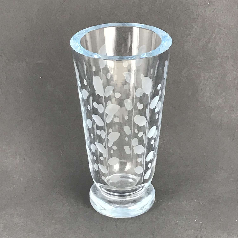 Edward Hald etched glass vase foliage pattern Orrefors 1940s