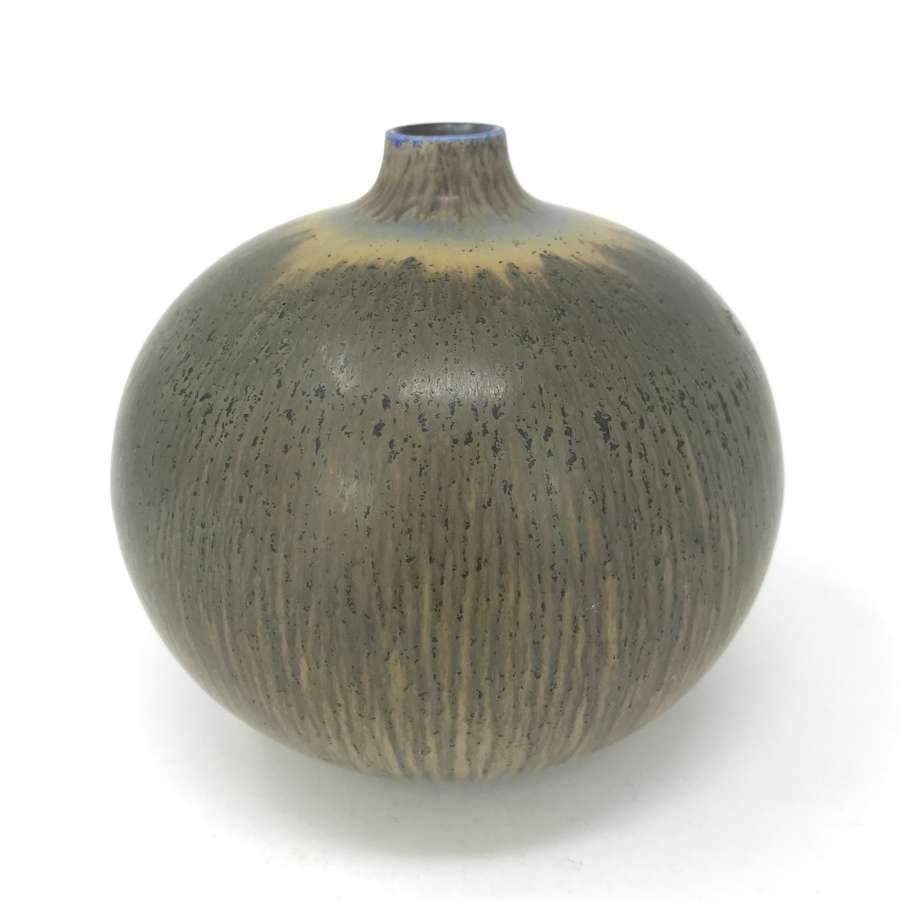 Berndt Friberg vase with haresfur glaze for Gustavsberg Sweden 1940s