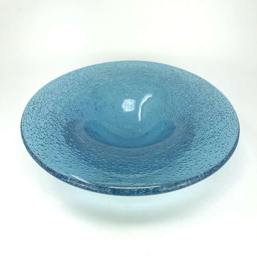Lennart Nissmark Studio Ahus blue glass bowl with bubbles Sweden