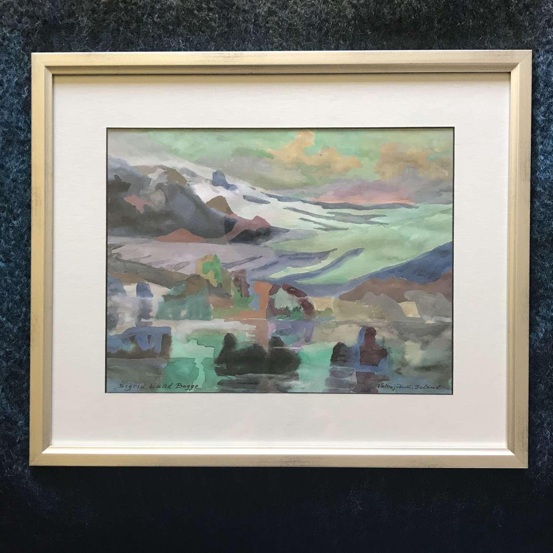 Watercolour landscape 'Vatnajökull, Island' by Sigrid Lund Bagge