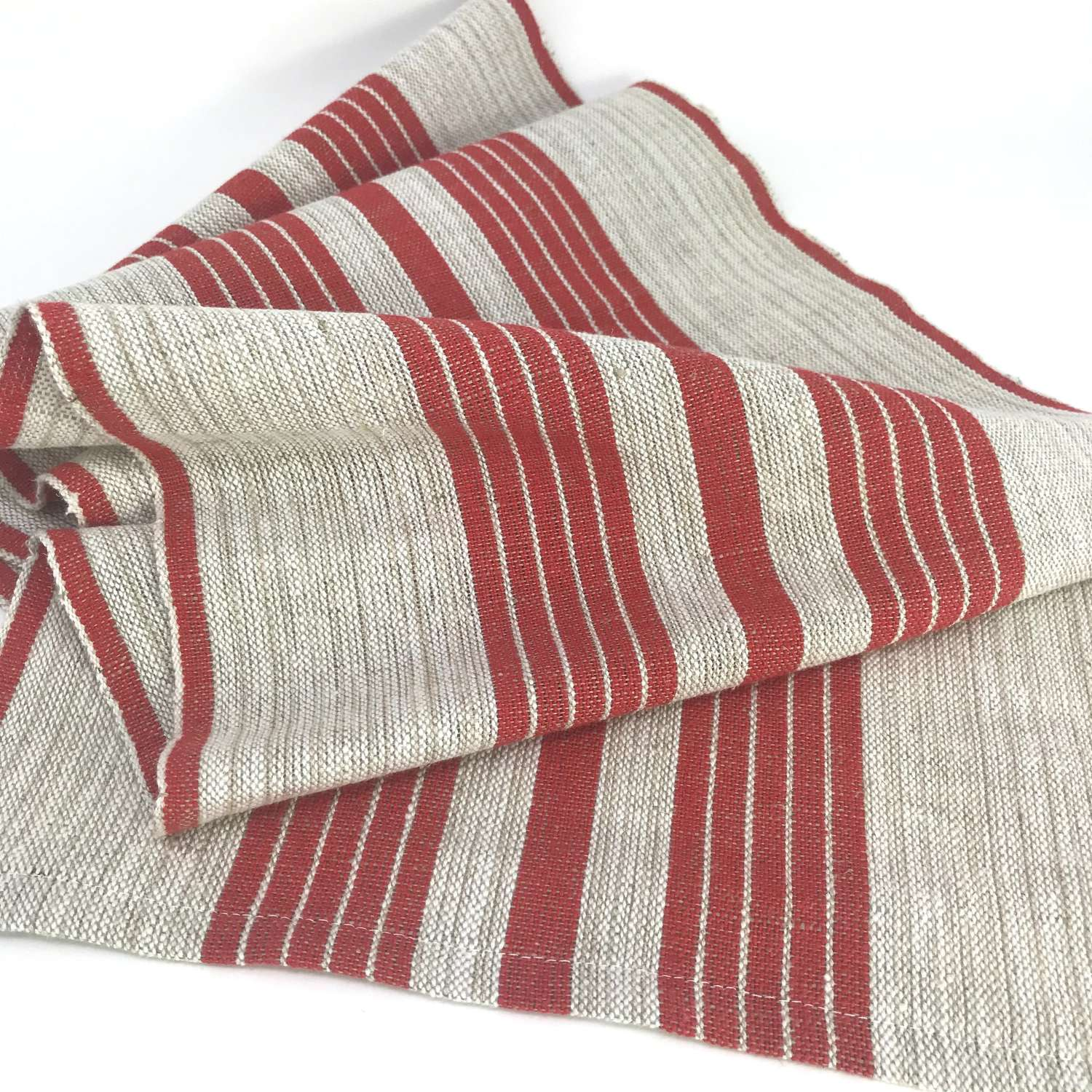 Swedish handwoven linen table runner in natural and red, c1970s unused