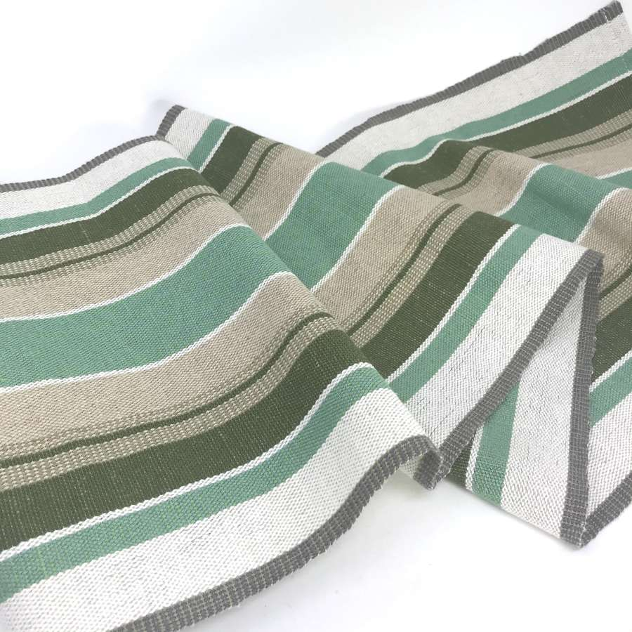 Swedish handwoven linen table runner, green and taupe, c1970s unused