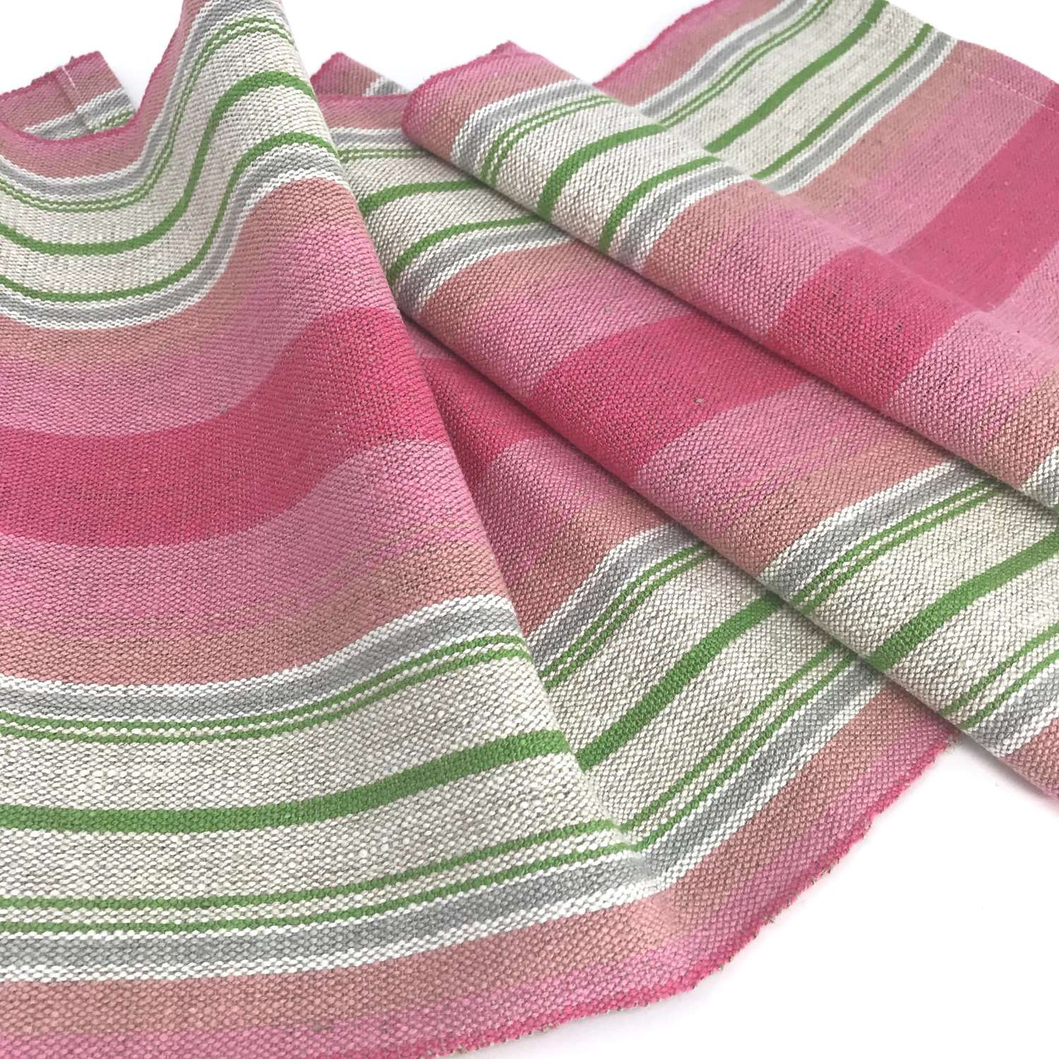 Swedish handwoven linen table runner, pink and green, c1970s unused
