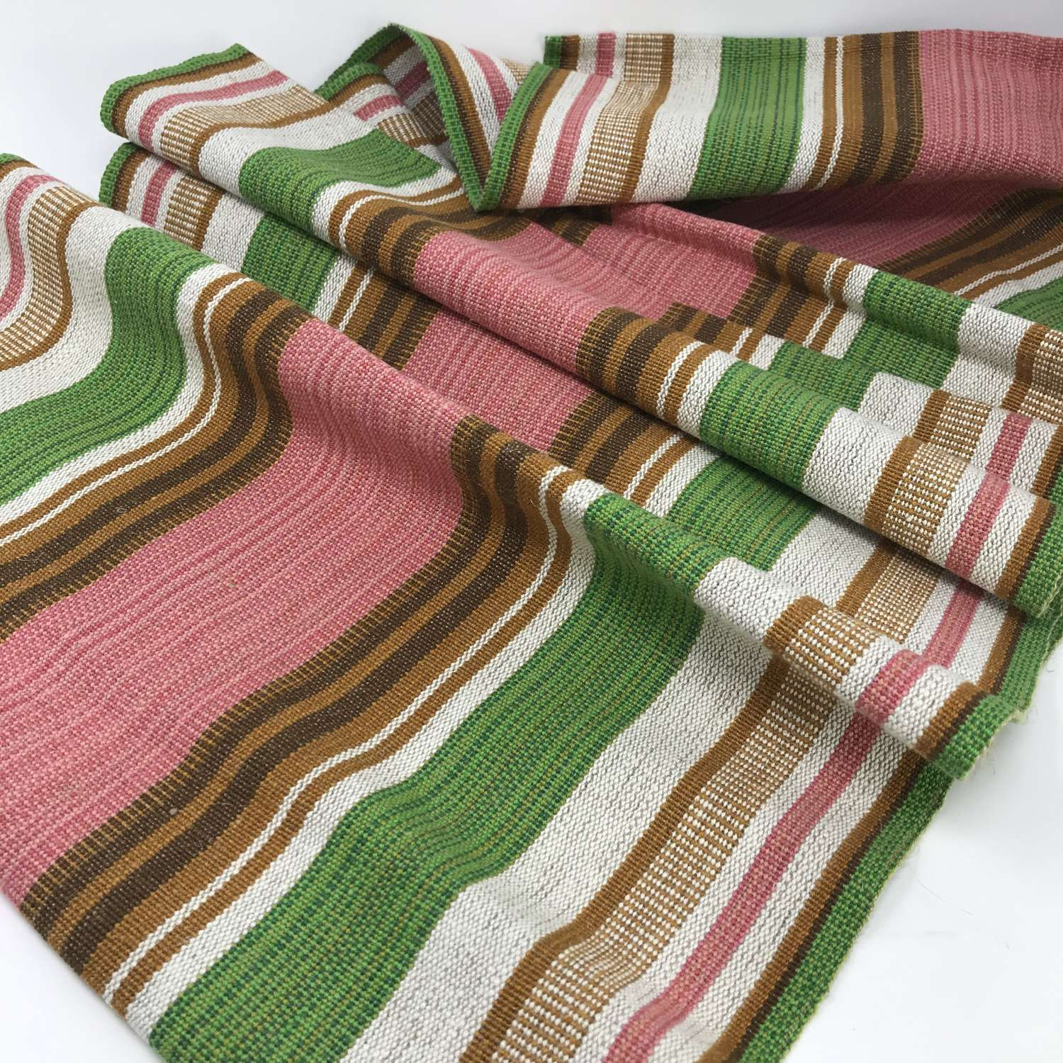 Swedish linen table runner with pink, green, brown stripes c1970s
