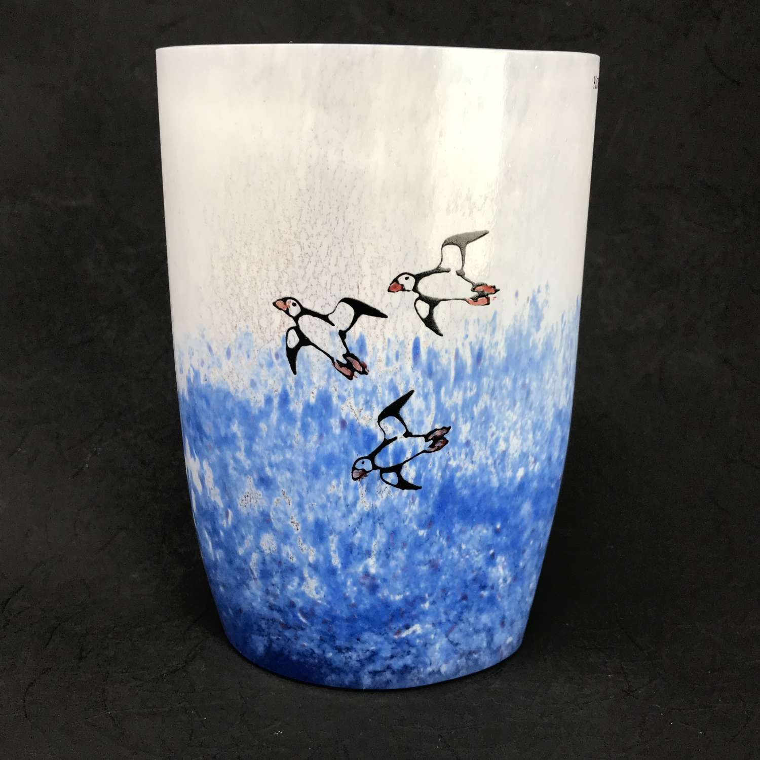 Kjell Engman medium vase with puffins, Kosta Boda, Sweden 1980s