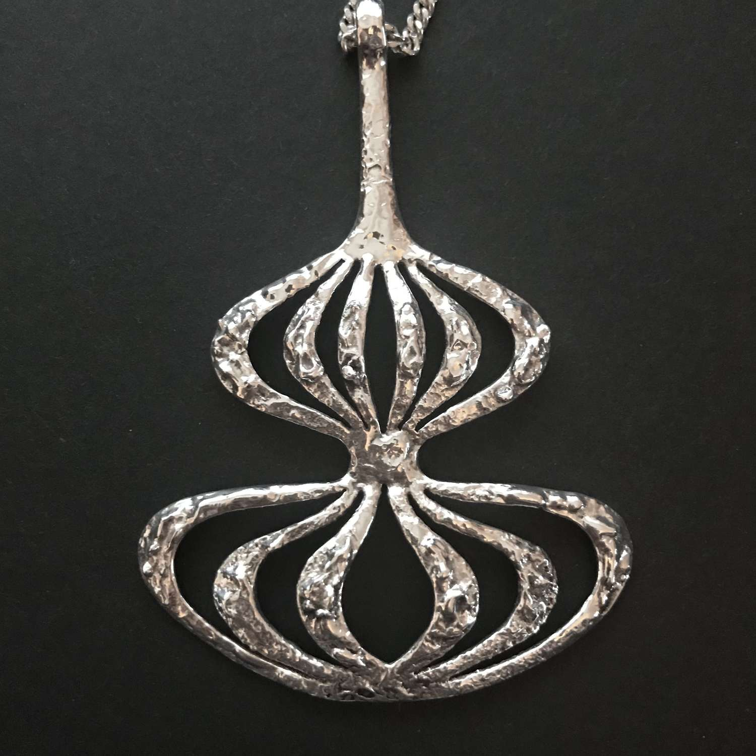 Silver pendant by Theresia Hvorslev for Mema, Lidköping, Sweden 1972