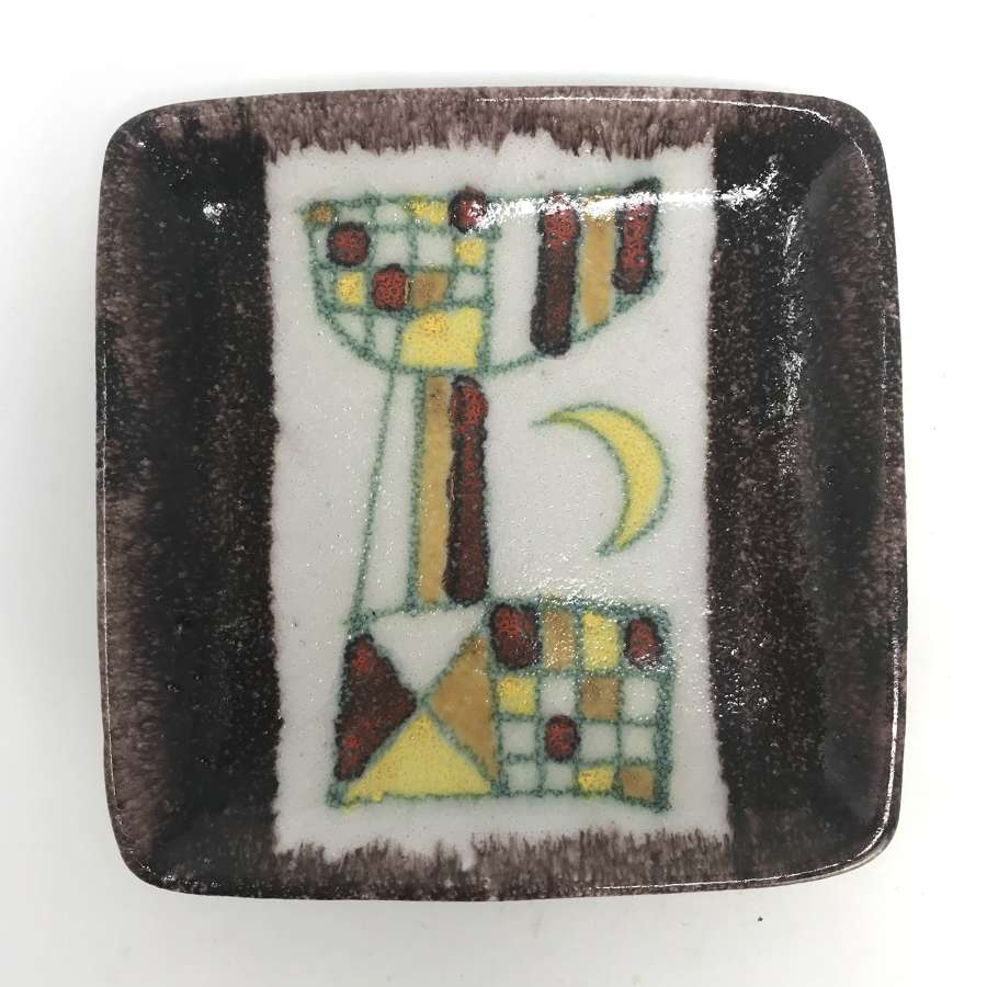 Guido Gambone Dish abstract cat and moon Donkey Mark Italy 1950s