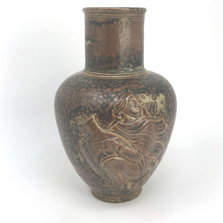 Jais Nielsen Vase with Relief Moulded Potter Royal Copenhagen 1940s