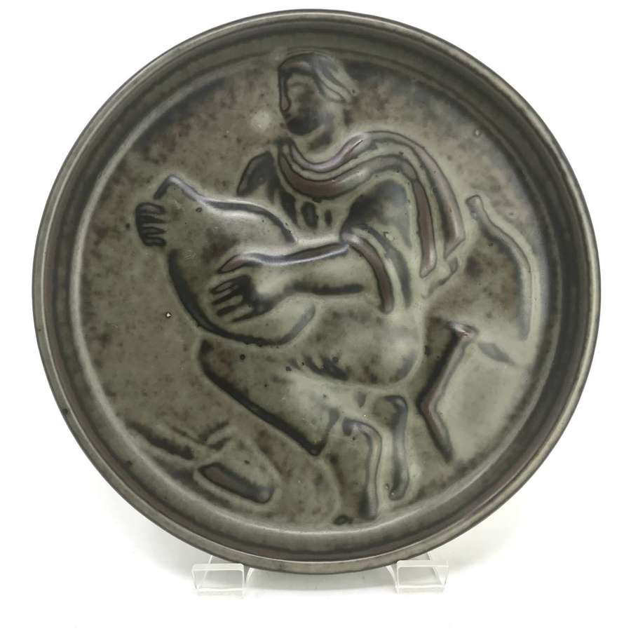 Jais Nielsen shallow dish with potter relief Royal Copenhagen Denmark