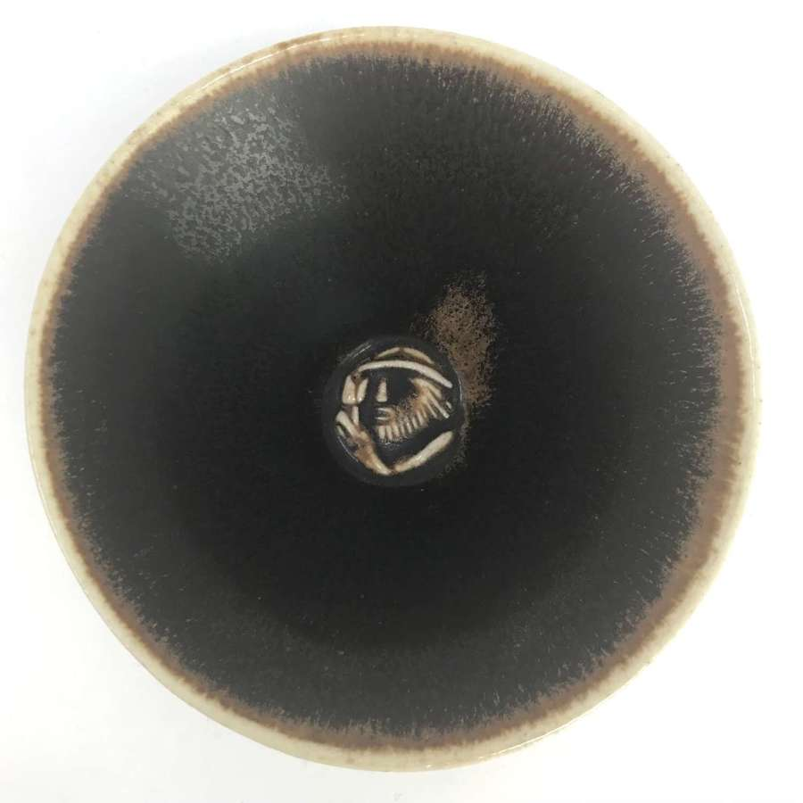 Jais Nielsen conical bowl with relief face Saxbo Denmark 1950s