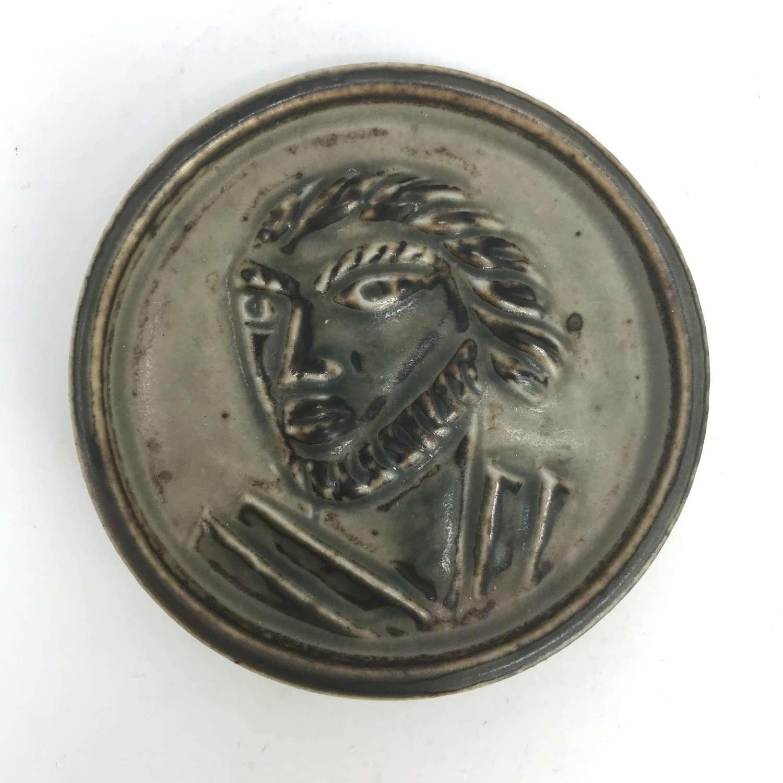 Jais Nielsen small plaque man's head Royal Copenhagen Denmark