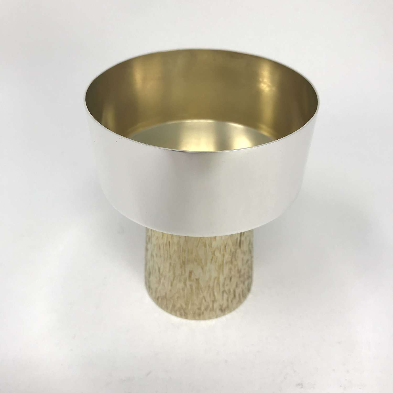 Grant Macdonald modernist silver goblet with gilt stem London 1979
