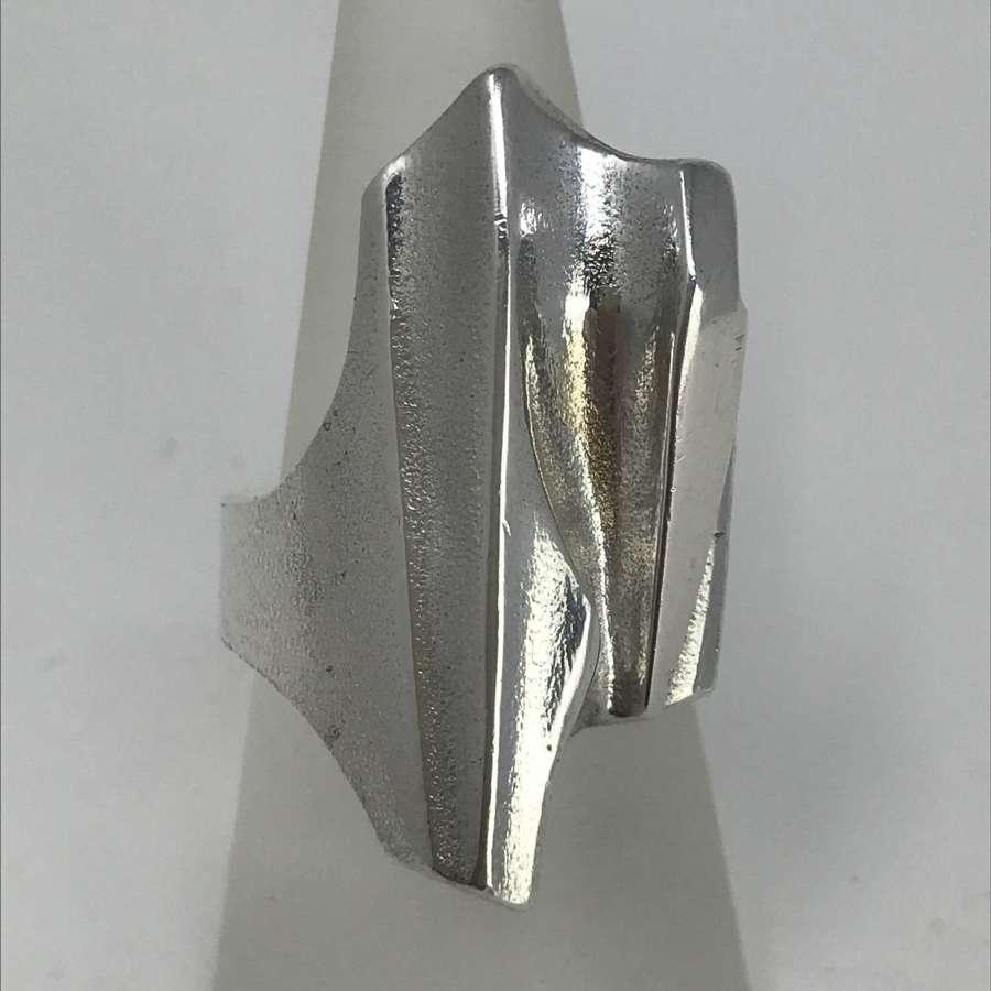 Björn Weckström 'Shuttle' silver ring, Lapponia, Finland 1997
