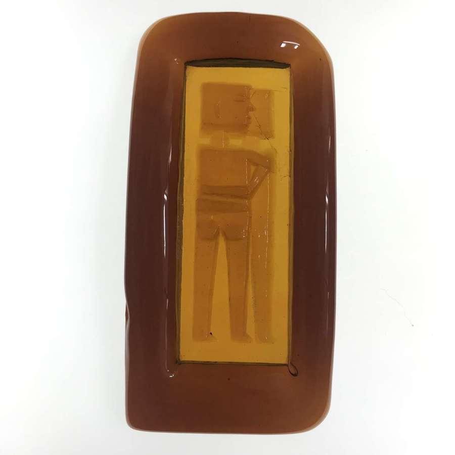 Erik Hoglund large amber glass dish with couple Boda 1960s