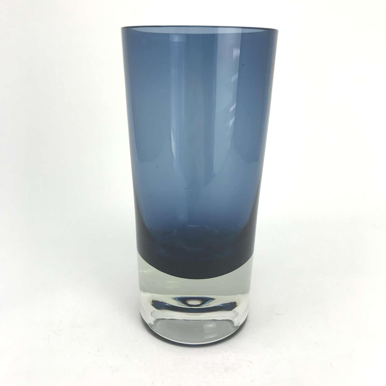 Kaj Franck Blue glass vase Nuutajärvi Notsjö Finland 1964
