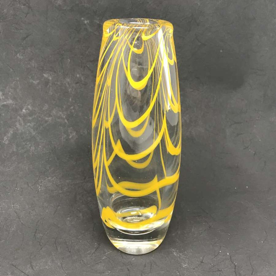 J E Nordkvist Flygsfors glass vase yellow wavy lines Sweden 1985