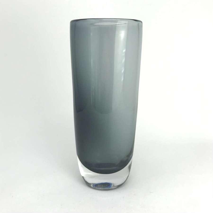 Sven Palmqvist smoky grey glass vase Orrefors Sweden 1950s