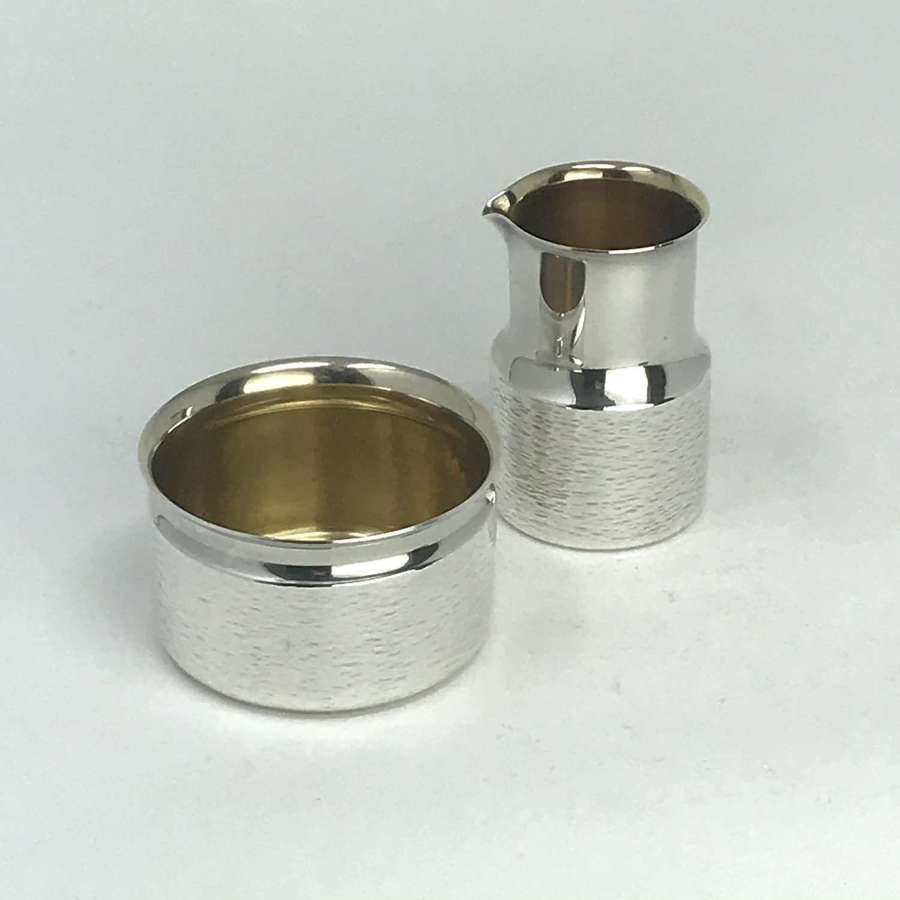 Olof Blomberg small silver jug and sugar bowl Ceson Sweden 1973
