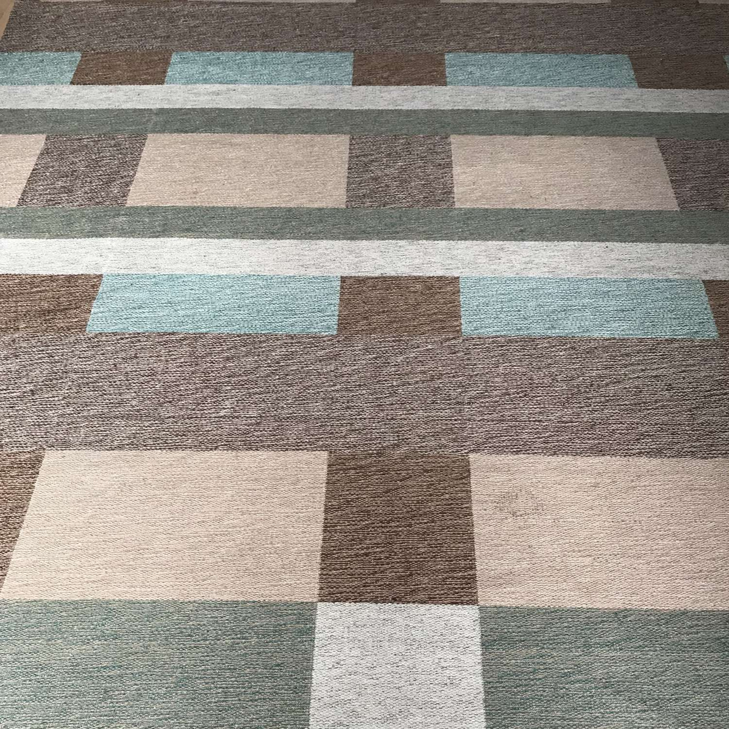 Large röllakan rug in green blue and brown tones Sweden c1960s