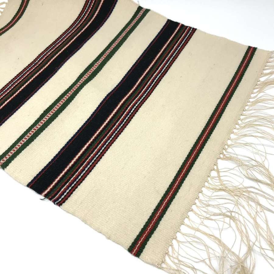 Handwoven Swedish woven wool table runner with long fringes