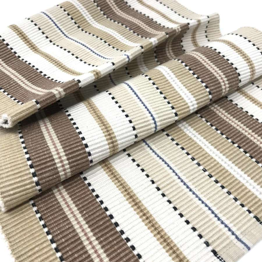 Swedish vintage ribbed table runner in brown and beige