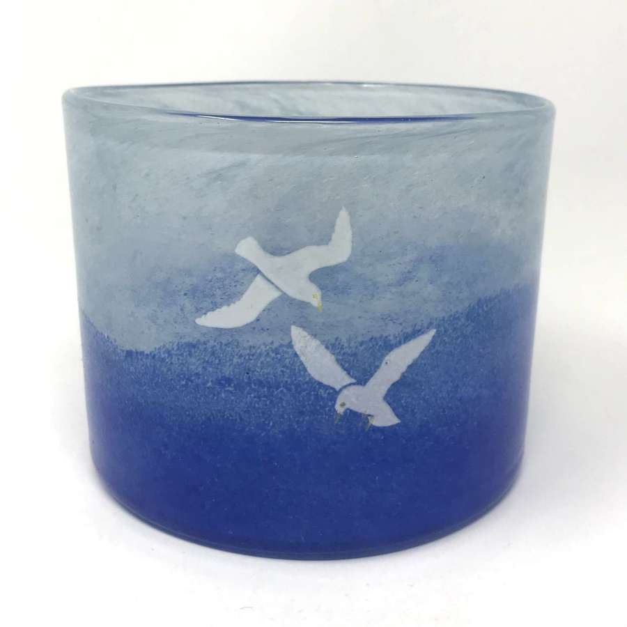 Kjell Engman Blue glass vase with seagulls Boda Sweden 1980s Medium