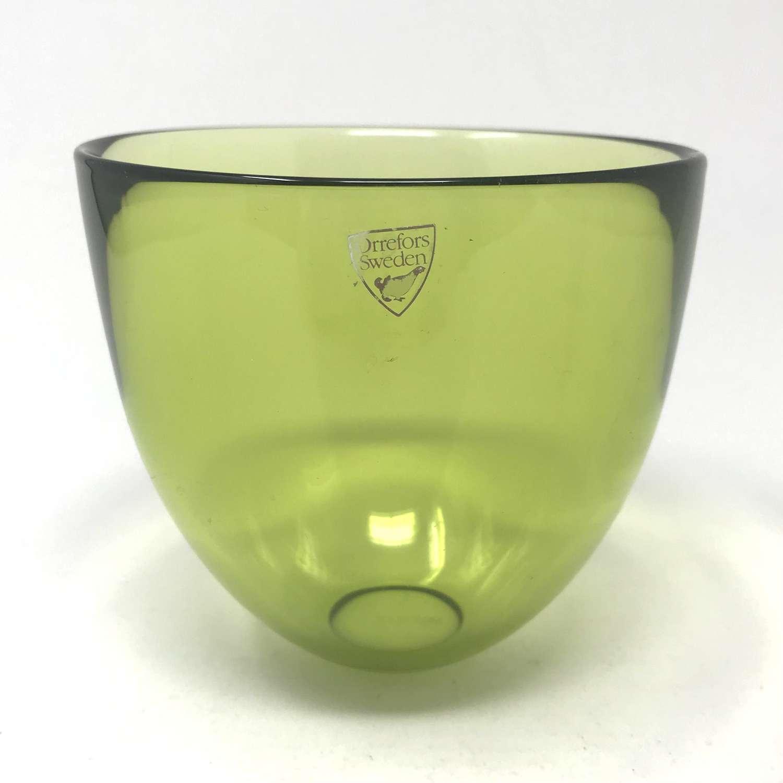 Lena Bergström olive green Pastillo bowl Orrefors 2004.