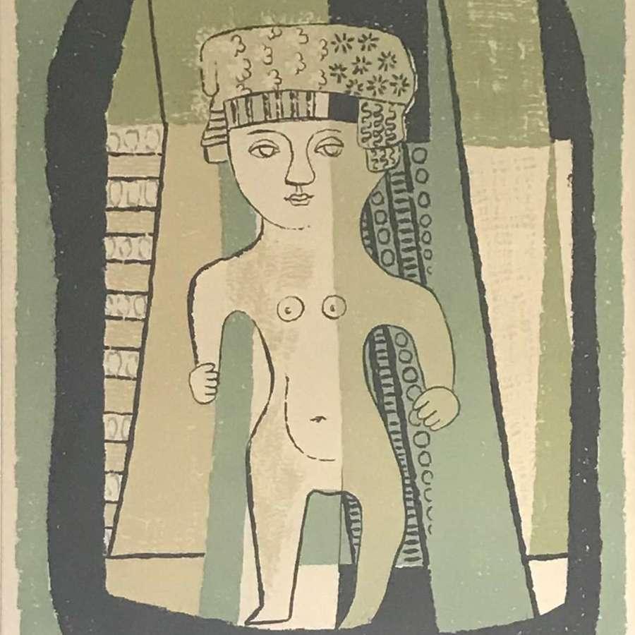 Esaias Thoren Composition with figure lithograph Sweden 1952