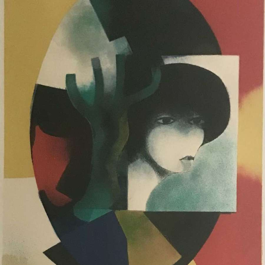 Andre Minaux Portrait of a Woman with Tree Lithograph France