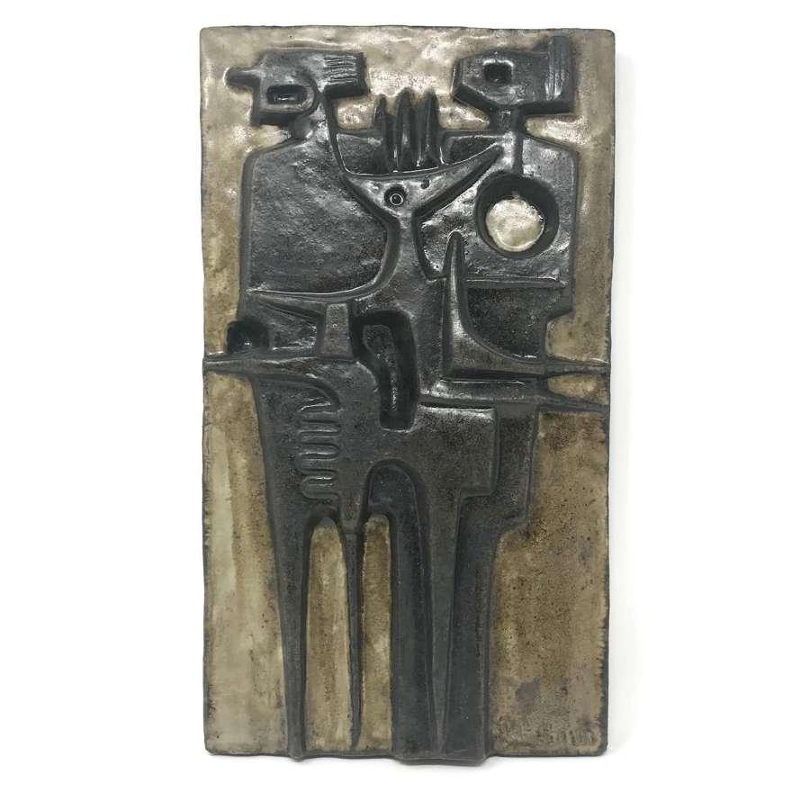Åke Holm ceramic abstract wall plaque, Hoganas Sweden