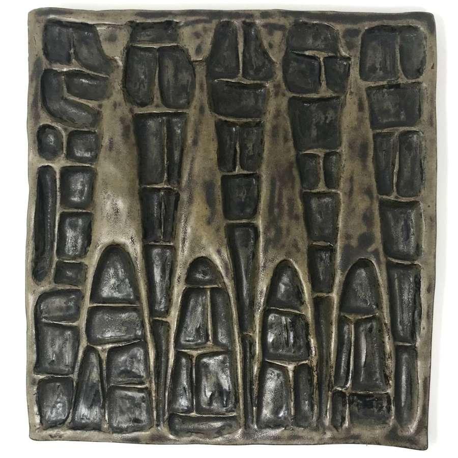 Åke Holm ceramic wall plaque with four figures Hoganas Sweden