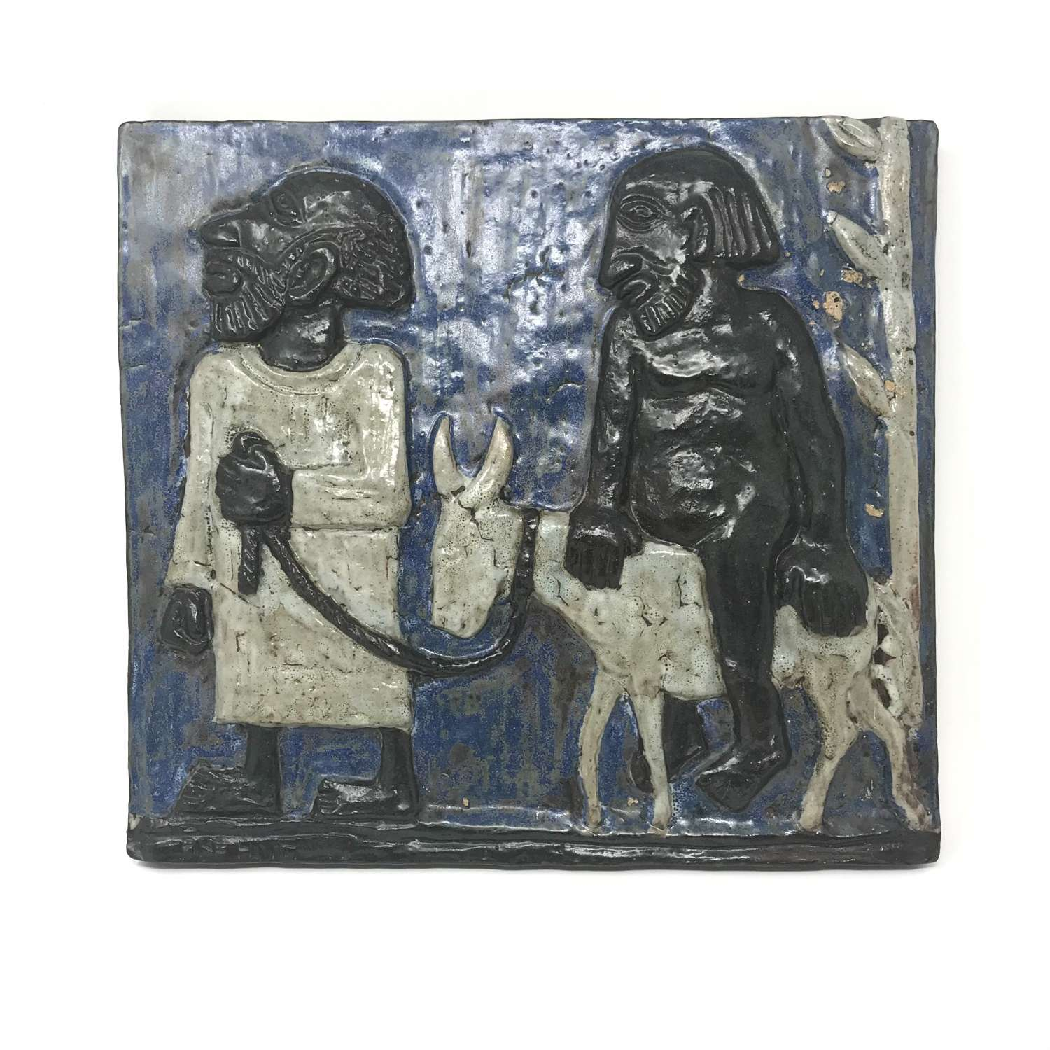 Åke Holm ceramic wall plaque two men with a donkey Hoganas Sweden