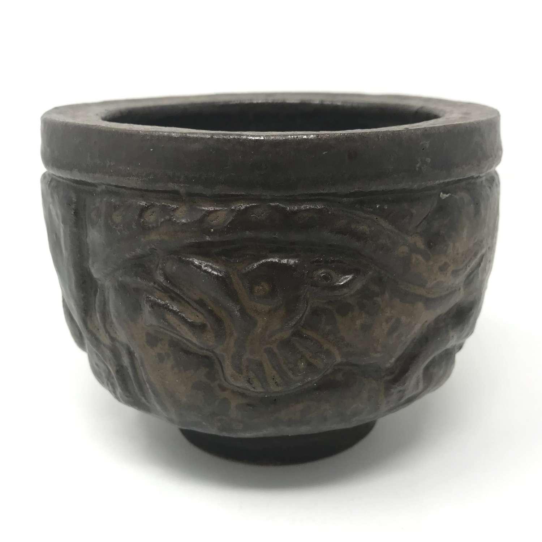 Åke Holm stoneware bowl with dragon Hoganas Sweden
