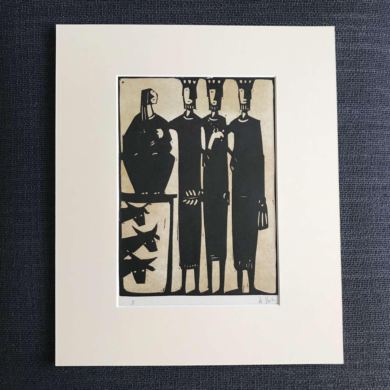 Åke Holm Linocut print of Three Kings Sweden 1960s
