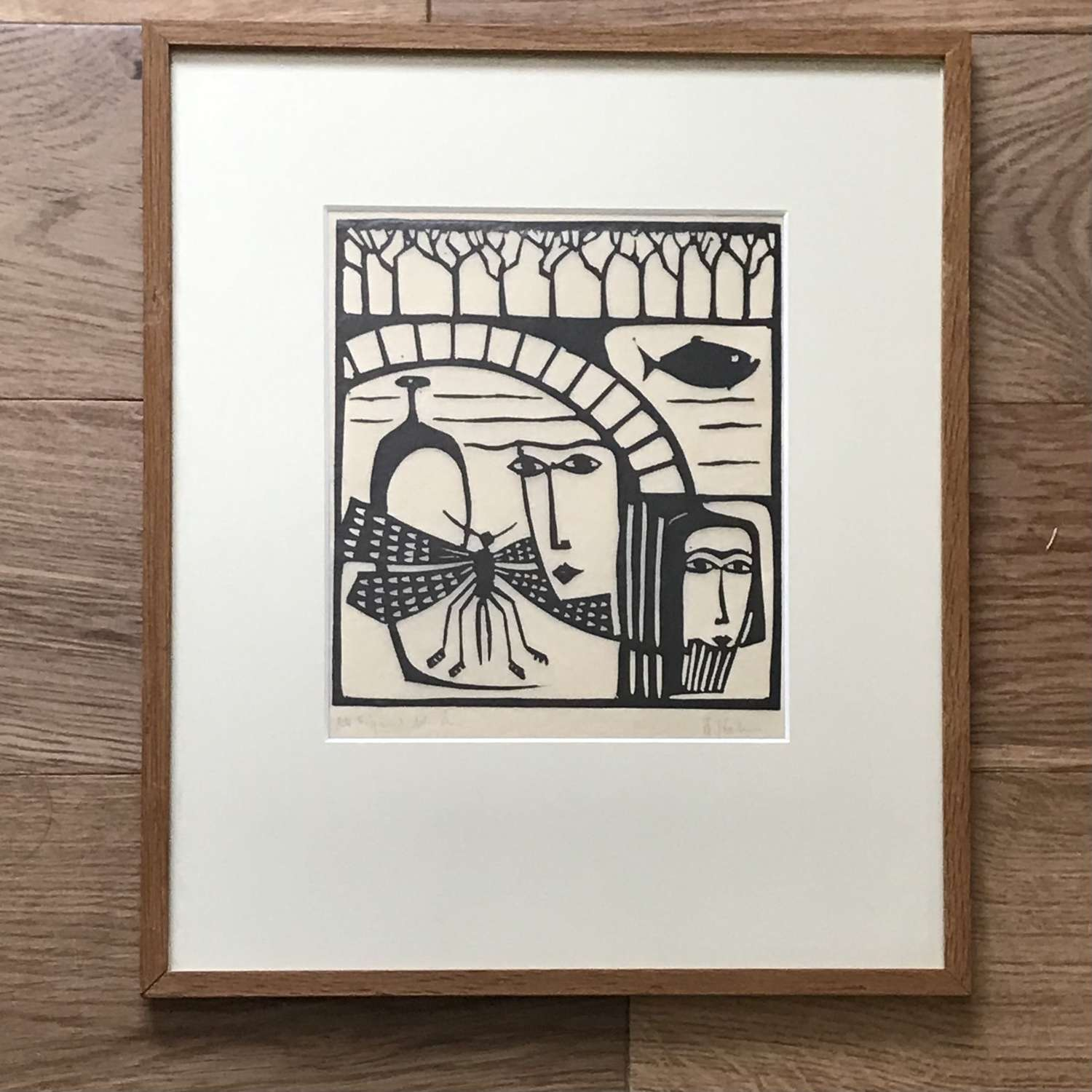 Åke Holm linocut two faces Sweden c1960s