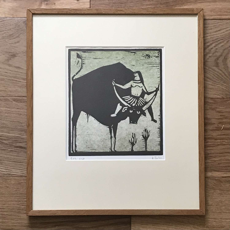 Åke Holm linocut Europa and the Bull.Sweden c1960s