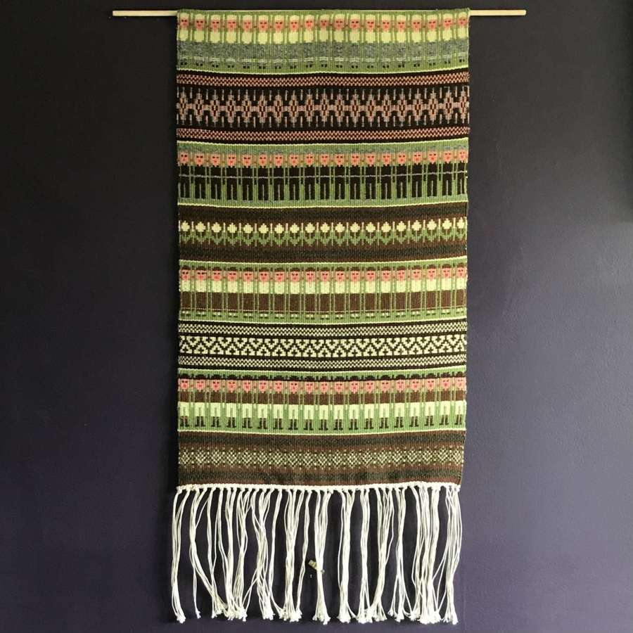 Swedish handwoven tapestry with boundweave figures